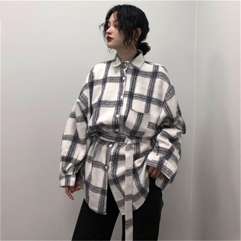 CBAFU Vintage Plaid Blouse Women Sprig Autumn Sashes Thick Woolen Shirts Loose Long Tops Ladies Blusas Belt BF Style Korean P887