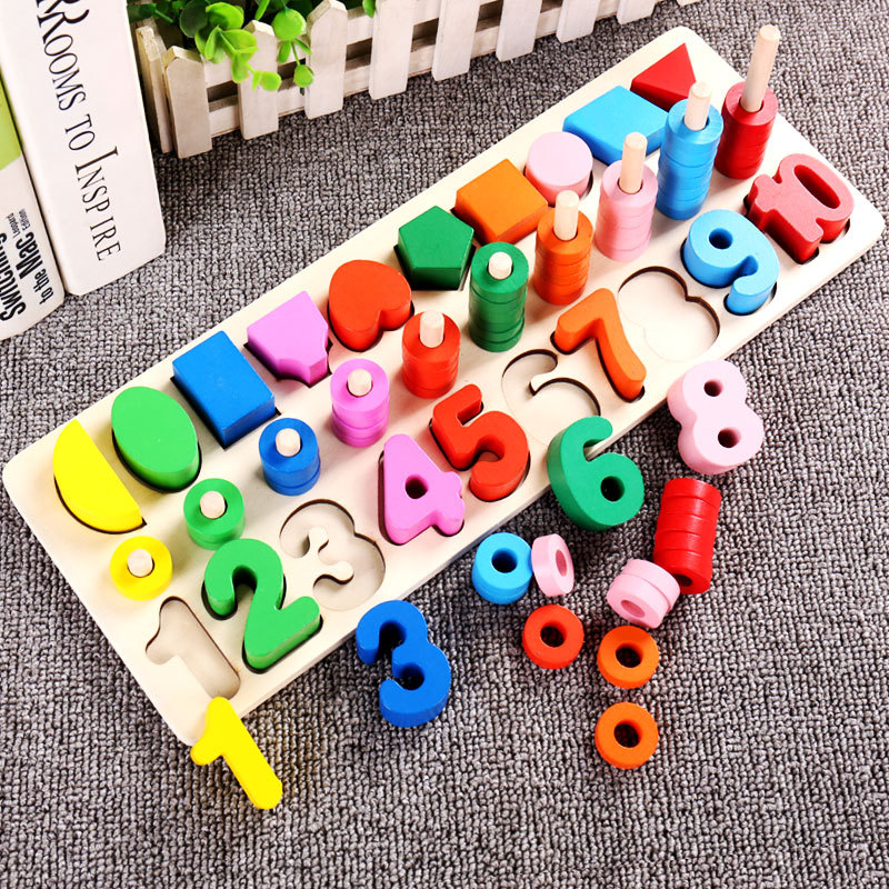 A Building Blocks Toy 1-2-3-6 A Year Of Age Children Intelligence Baby Three-in-One With Numbers Logarithmic Xing Zhuang Ban Edu