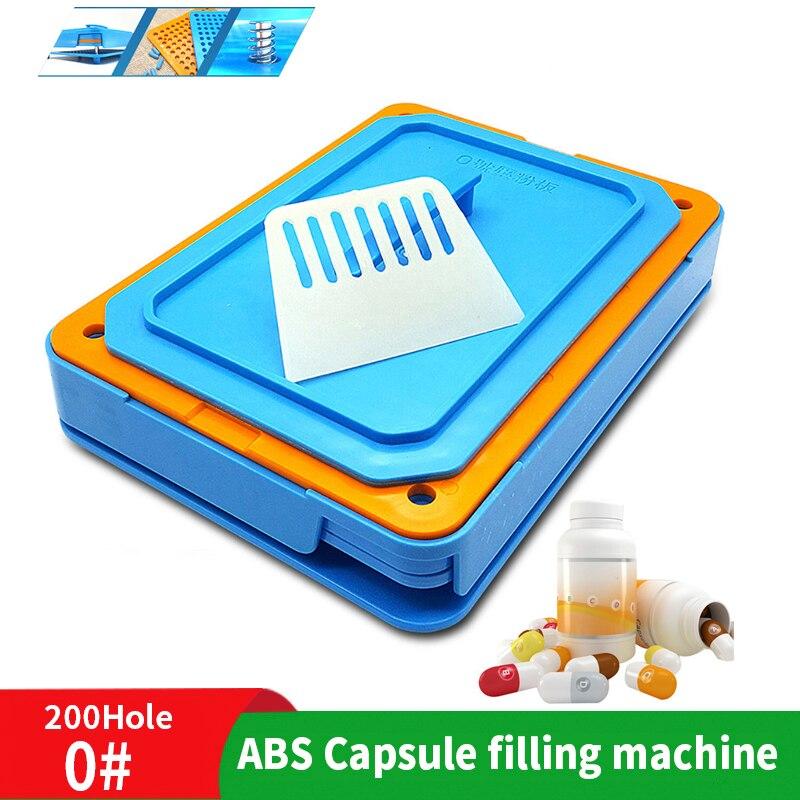 0 #200 agujero polvo Medicinal Máquina manual de llenado de cápsulas herramienta de grado alimenticio ABS dispensador de placas cápsula máquina de llenado rápido