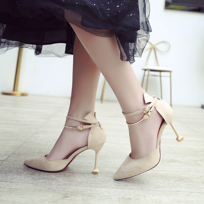 2019 new Korean pointed stiletto high heels simple fashion shallow mouth womens shoes temperament elegant single shoes