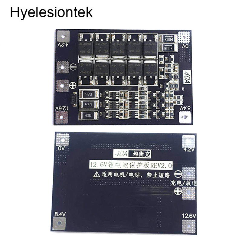 3S 12.6 4S 16.8V 40A BMS Balancer 18650 Lipo Li-ion Lithium Battery Charger Protection Circuit Charging Board PCB Electric Drill