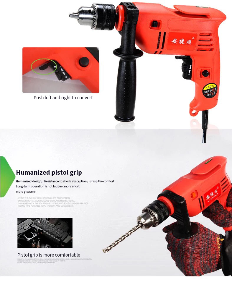 H08cb7ec69f78498c87d09ba97dd6f65er - Anjieshun 30 Pieces / Set Impact Drill Multi-function Electric Drill Dual-use Drill Set Home DIY AC 13 Mm 950W 3300rpm