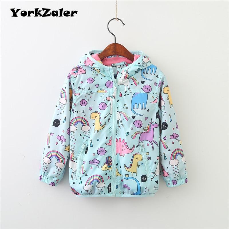 YorkZaler Kids Rain Jacket Baby Girl Boy Clothing Spring Children Long Sleeve Print Unicorn Dinosaur Hooded Coat Outerwear Tops