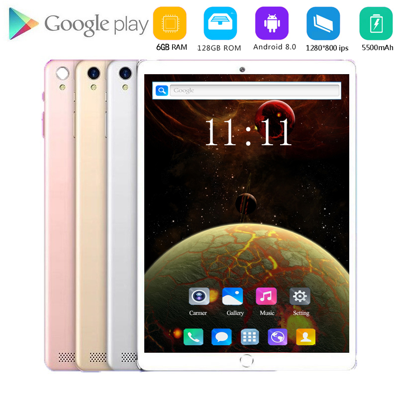 New 1920X1200 10.1 Inch Android 8.0 Tablet Pc 10 Core 4G Lte Phone Call Tablets 6gb Ram 128gb Rom Dual Wifi Band 2.4G Dual Sim