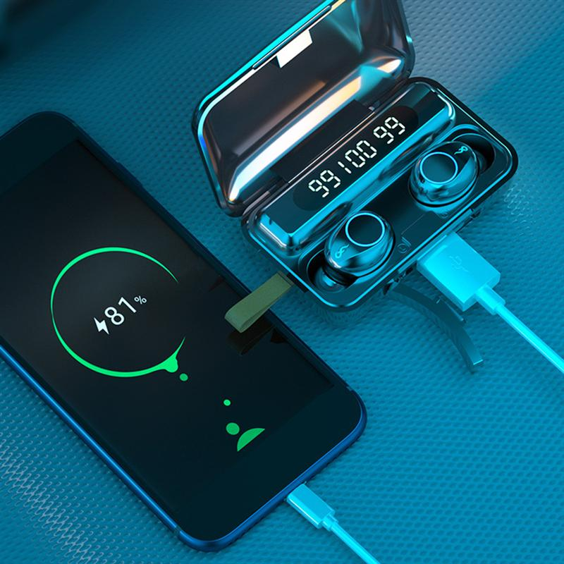 Mini True Wireless Headset Earphones HiFi Stereo In-Ear Noise Cancelling IPX7 Waterproof Handsfree Earbuds Sports Headsets
