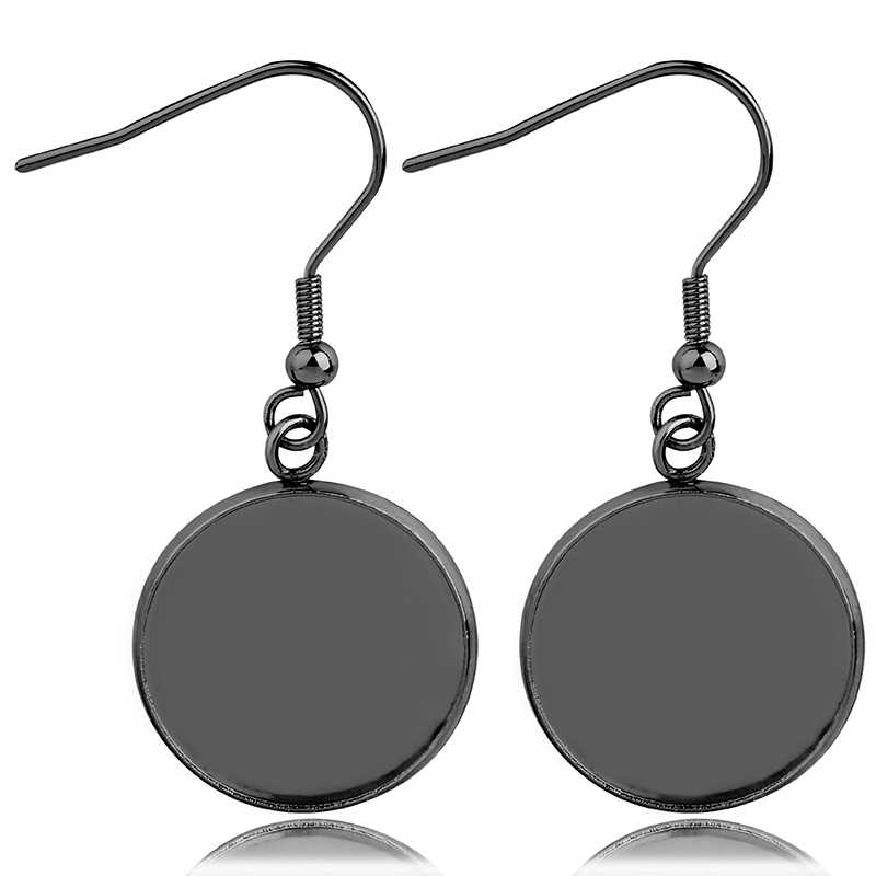 Boucles d'oreilles en acier inoxydable, crochet, Cabochon, Base vide, 8 10 12 14 16 18 20 25MM, résine de verre, accessoires pour femmes, 20 pièces