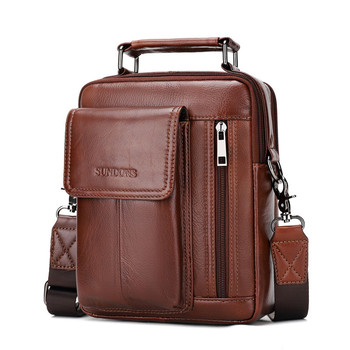 2020 New Men Genuine Leather Messenger Bag Wax Crossbody Shoulder Cowhide Business Bags Briefcase