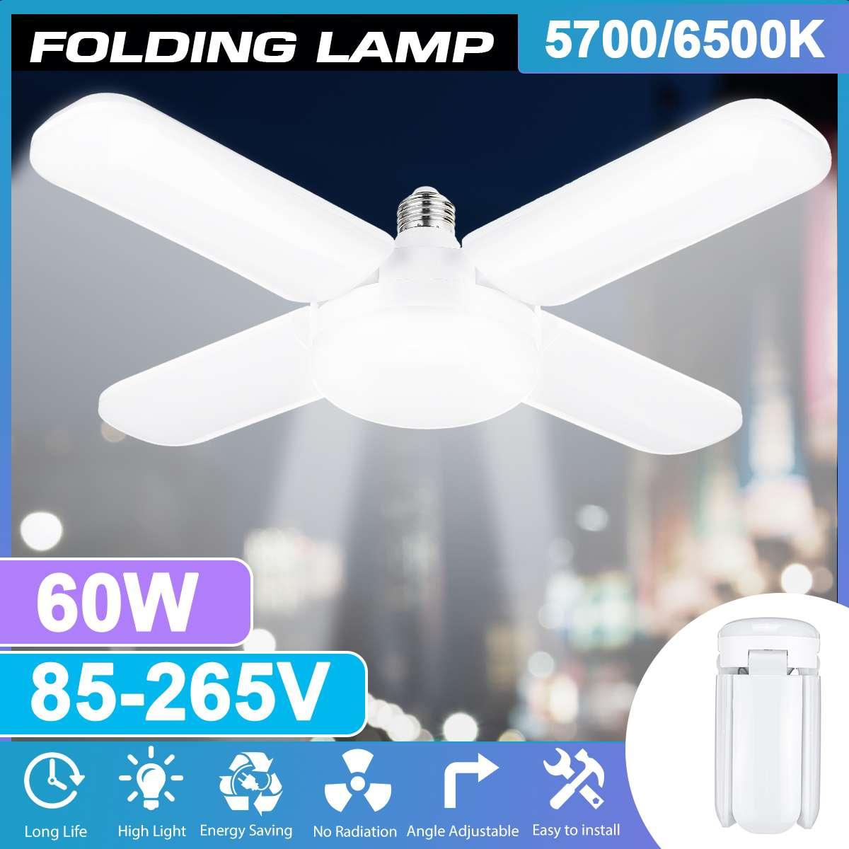 Super Bright Industrial Lighting 60W E27 Led Fan Garage Light 6500LM 85-265V 2835 Led High Bay Industrial Lamp For Workshop