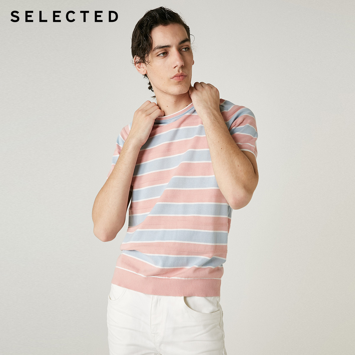 SELECTED Men's 100% Cotton Striped Short-sleeved Casual Contrast Stitching T-shirt S | 419101538