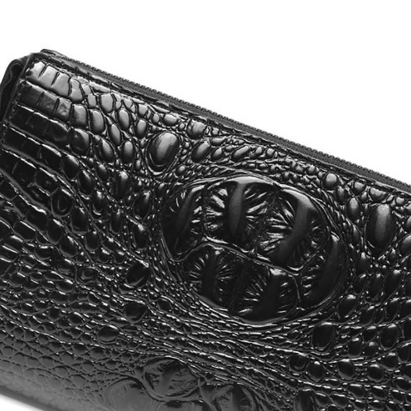 Portefeuille Long hommes fermeture éclair sac à main pour hommes porte-monnaie en cuir véritable pochette hommes portefeuilles portefeuille homme