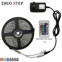 LED Strip Light RGB 5050 SMD 2835 Flexible Ribbon fita led light strip RGB 5M 10M 15M Tape Diode DC 12V Remote Control Adapter