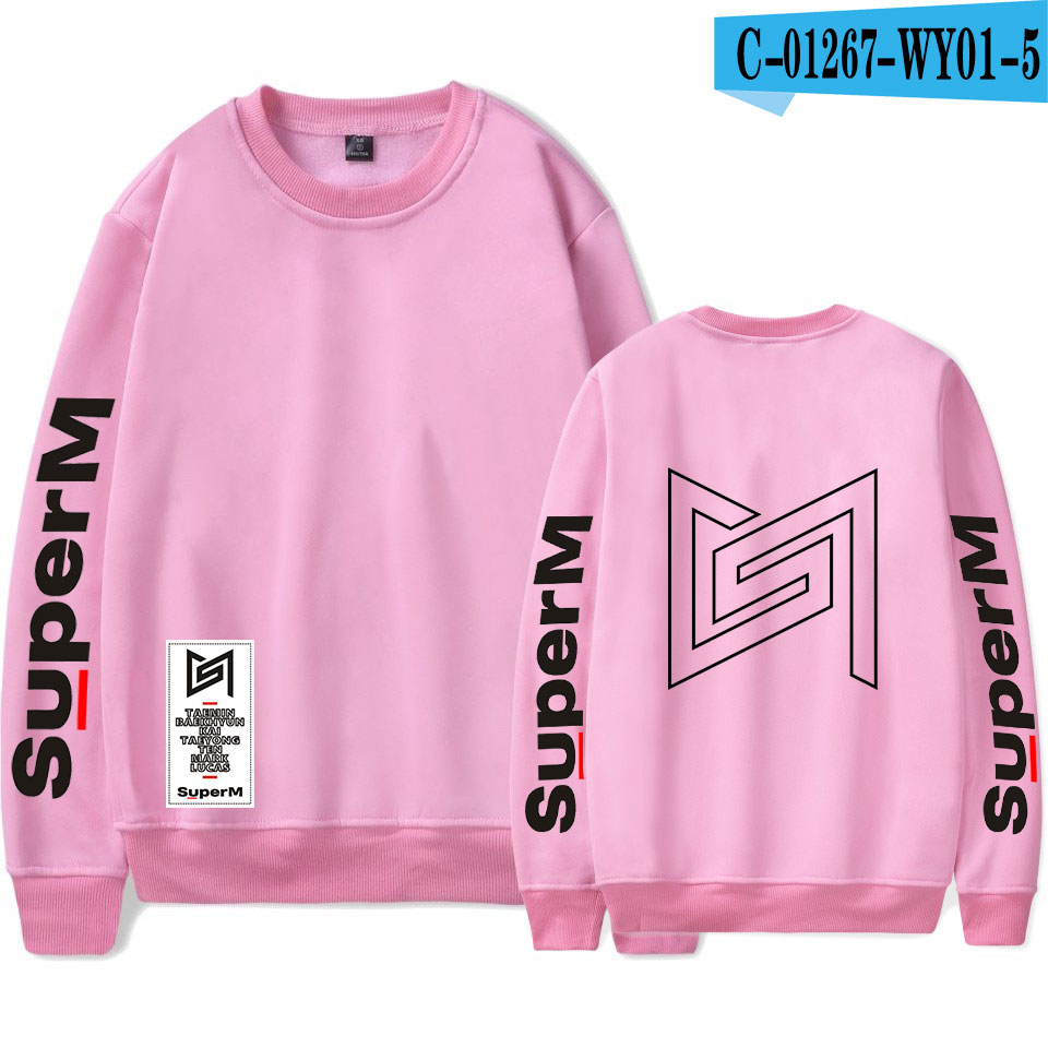 SuperM Korean Stylish Kpop Harajuku Printed  Harajuku Round Collar Sweatshirt Women/men College Stylish 2019 New Sweatshirt 17