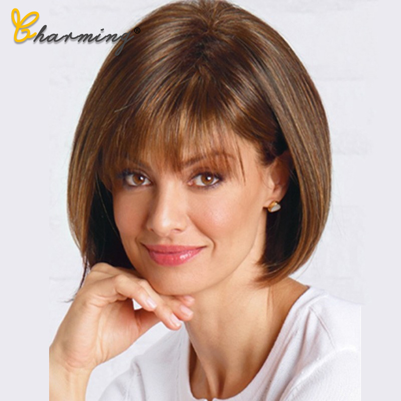 CHARMING Straight Black Synthetic Wigs With Bangs For Women Medium Length Hair Bob Wig Heat Resistant Bobo Hairstyle