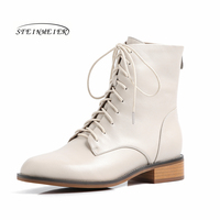 Women Winter cheleas Boots Genuine leather Ankle laces flat boot woman Short black Boots 2019 for women boots