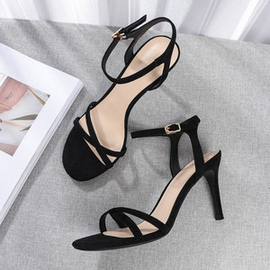 Image 4 - Women High Heels Sandals Shoes Woman 8.5cm Thin Heels Pumps Sandals Ladies Flock Solid Ankle Straps Casual Sexy Wedding Shoes