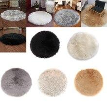 40cm 60cm 90cm Durchmesser Künstliche Schaffell Shaggy Boden Matte Teppich Teppich Weiß