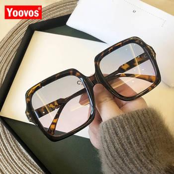 Yoovos Vintage okulary przeciwsłoneczne damskie ponadgabarytowe okulary przeciwsłoneczne damskie kwadratowe okulary marki designerskie okulary przeciwsłoneczne dla kobiet okulary w stylu Retro tanie i dobre opinie WOMEN SQUARE Dla dorosłych Z tworzywa sztucznego Lustro Gradient Fotochromowe Anti-odblaskowe UV400 61mm Akrylowe MN16109
