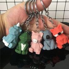 2019 Cartoon Geometric Animal Frog Key chain Pink pig Fox chains Men And Women Car Bags Pendant Childrens Birthday Gift