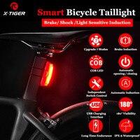 X-Tigre luz trasera bicicleta inteligente para automóbil a/parada de freno de bicicleta luz IPx6 impermeable de carga USB LED luz trasera
