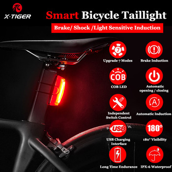 X-Tiger Bicycle Rear Light Smart Auto Start/Stop Brake Sensing Bike Light IPx6 Waterproof USB Charge LED Light Cycling Taillight
