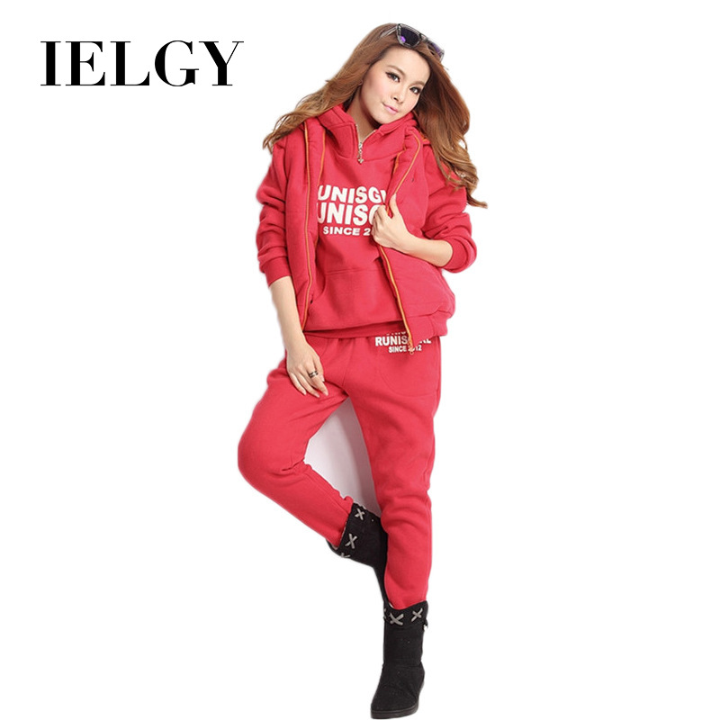 IELGY Casual Suit Female Korean Version Of The Hooded Wild Printed Letters Fleece Thick Sweater Fashion  Three-piece