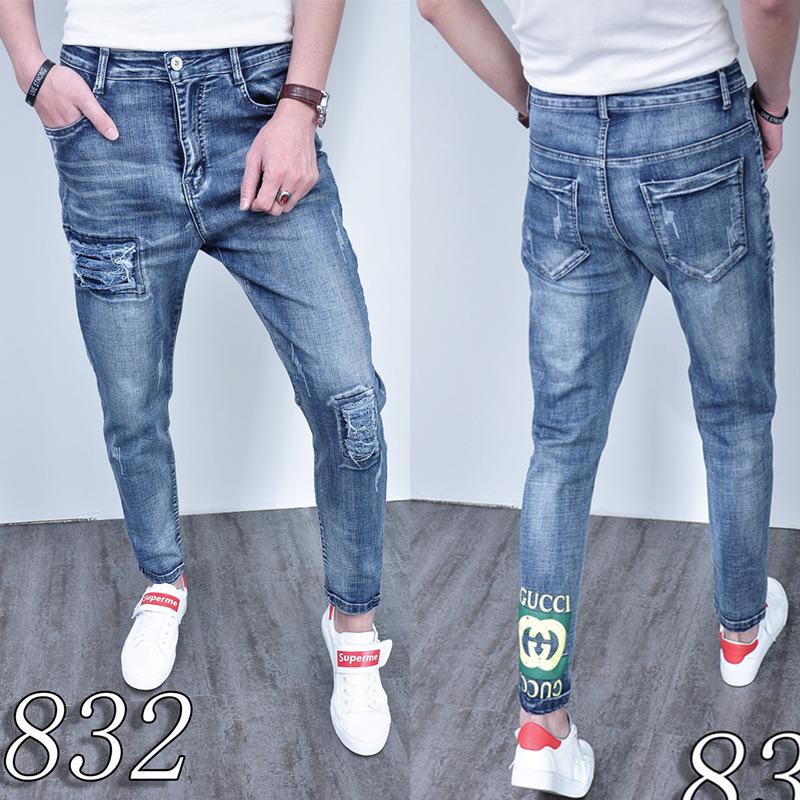Pantalones Vaqueros Ajustados Elasticos De Moda Para Hombres 2019 Pantalones De Gran Elasticidad Estampados Con Agujeros Nuevos Pantalones De Marea Gruesos De Otono Invierno Version Coreana Pantalones Vaqueros Aliexpress