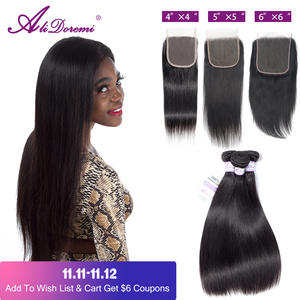 Straight Hair Closure Alidoremi 3-Bundles 100%Human-Hair Brazilian with 4x4/5x5/6x6/Middle-free-part