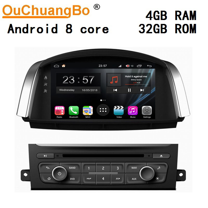 Ouchuangbo android 9.0 car radio multimedia for Renault Koleos 2014 2015 with 8 Core gps wifi mirror link 4GB+32GB S300 image