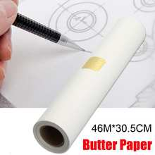 46m x 30cm rascunho transparente super esboços manteiga papel de rastreamento rolo branco para pintura artistas designers arquitetos