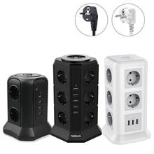 TESSAN – barre dalimentation ue avec 10 prises, 3 ports USB et cordon dextension de 2m, Protection contre les surcharges, prise dalimentation dextension pour la maison