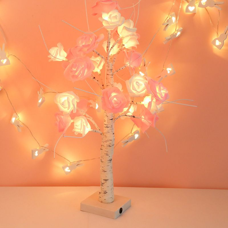 Rose Tree Desk Lamp Touch Switch Pink White Flower Light For Party Home Decor