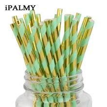 Ipalmay 500 шт розовые зеленые и золотые фольгированные бумажные соломинки металлические вечерние декоративные аксессуары для душа невесты коктейльные трубочки для питья