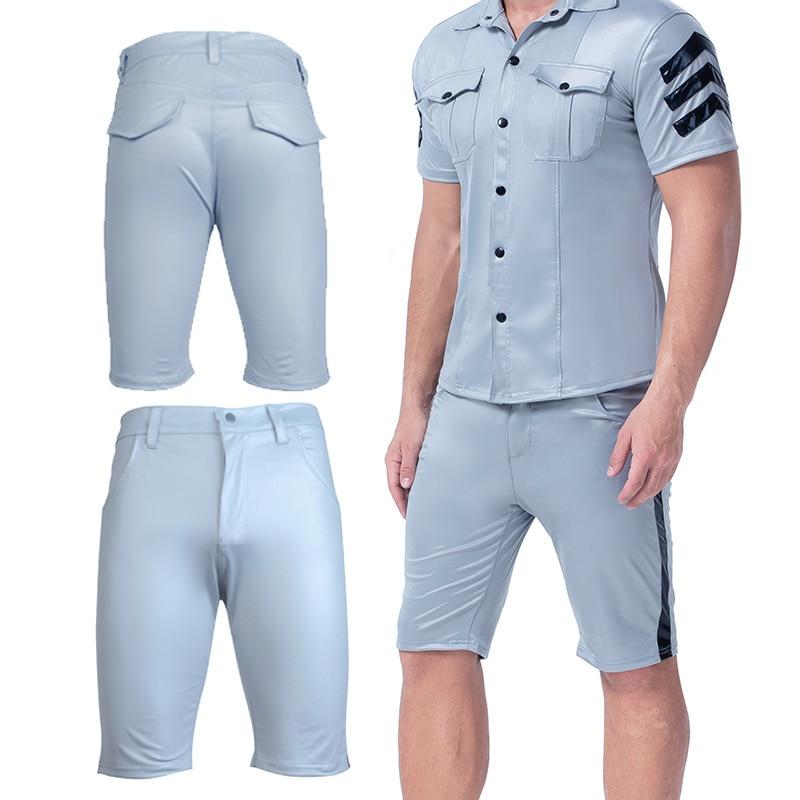 Mens Shiny Sexy Blue Boxer Shorts Patent Leather  Long Leg Short Panties Nightclub Shorts