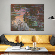 Claude Monet Water Lilies Setting Sun Canvas Painting Living Room Home Decoration Modern Wall Art Oil Painting Posters Pictures claude monet in the morning canvas painting print living room home decoration modern wall art oil painting posters pictures art