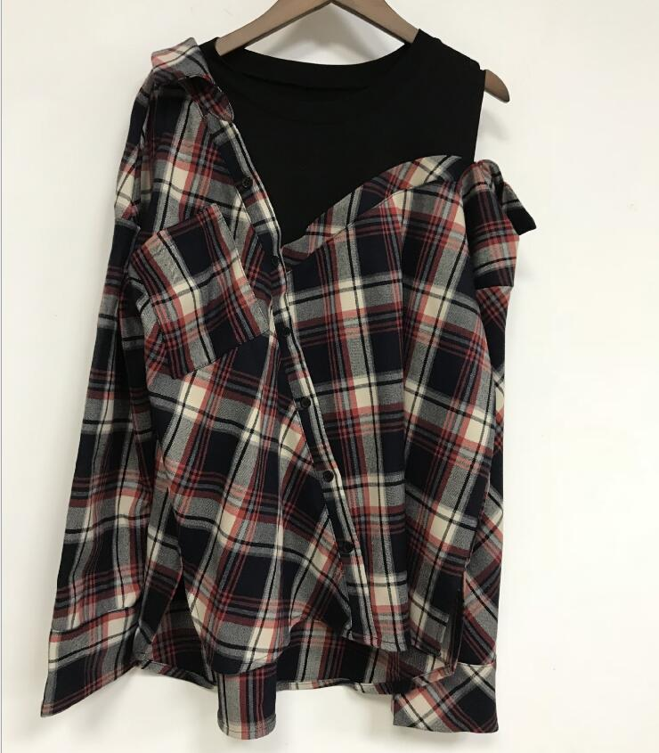 2020 autumn winter Women Shirt open shoulder casual ladies long-sleeved ladies plaid shirts fake two-piece set blouses and top