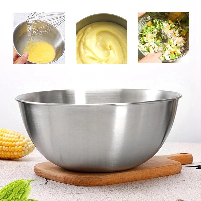 Blanco ensaladera de acero inoxidable de doble pared de grado alimenticio verduras y refrigerios blanco, negro utensilios de cocina elegantes para mezclar y preparar comidas Ensaladera con tapa