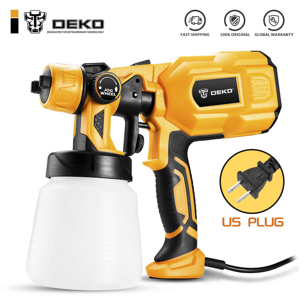 DEKO Spray Gun 110V 220V High Power Home Electric Paint Sprayer, 3 Nozzle Easy Spraying and Clean Perfect for Beginner
