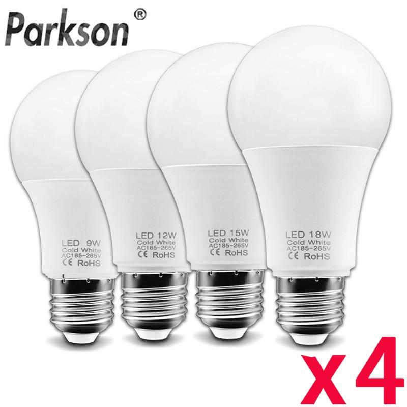 4pcs/lot E27 LED Light Bulb AC 185V-265V Lampada LED Bulb 6W 9W 12W 15W 18W Ampoule LED Spotlight Table Lamp Saving Energy Light