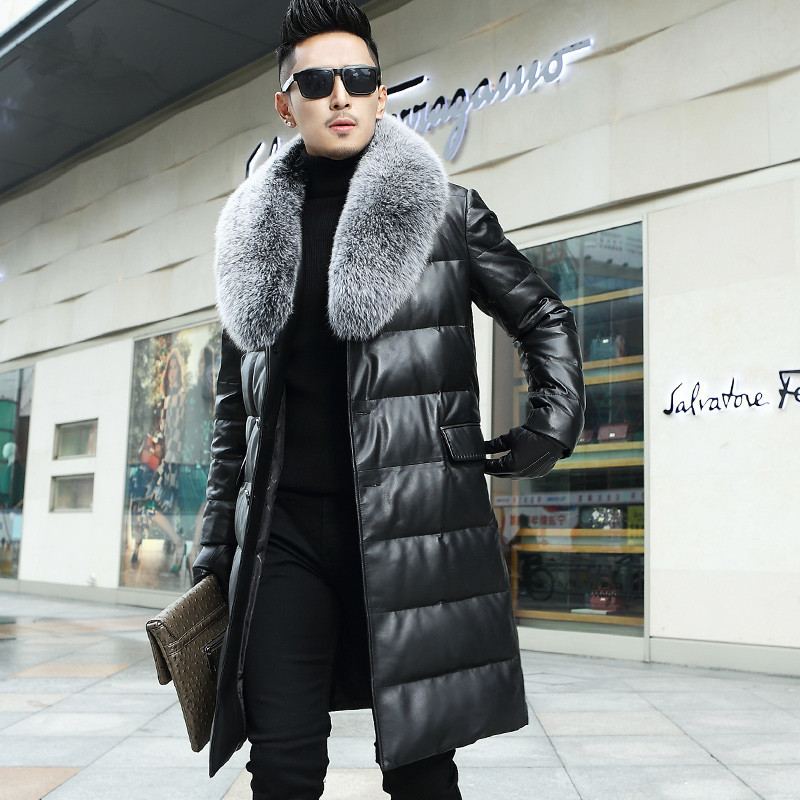 Genuine Leather Down Jacket Men Big Fox Fur Collar Sheepskin Coat For Men Long Jacket Veste Homme Cuir L16235 KJ835