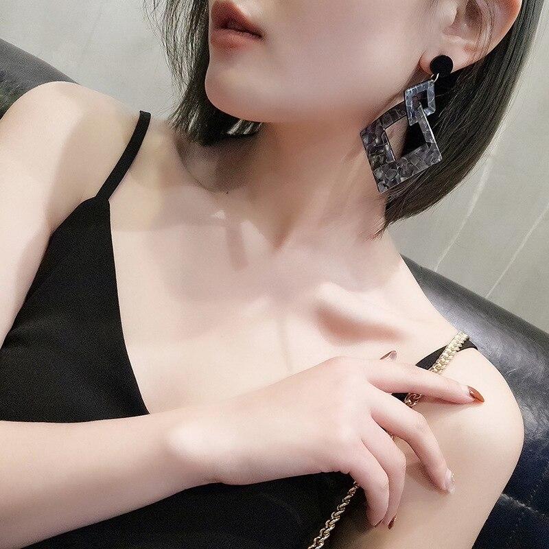 Vintage Acrylic Statement Geometric Drop Earrings for Women 2019 Fashion Jewelry Korean Leopard Acetate Dangle Earring