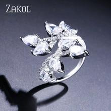 ZAKOL Classic Open Rings With Crystal Zirconia Leaf Shape Women Wedding Jewelry Wholesale FSRP2024