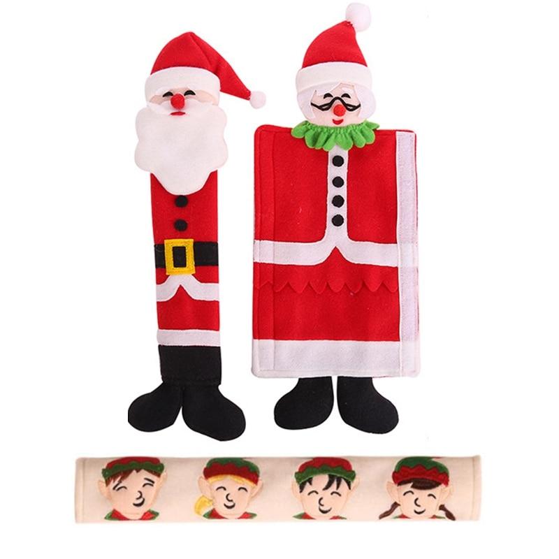 Christmas Decoration Refrigerator Door Handle Covers Cute Microwave Door Refrigerator Handle Sets Christmas Decoration Door Knob Covers     - title=