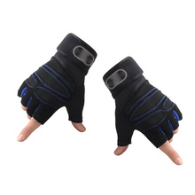 1 Pair Sports Half-finger Men Outdoor Riding Fitness Weight Lifting (Dark Blue, Size M)