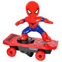 Disney Spiderman Car Toys Cartoon Model Whirl Anime Figure Action Doll Music LED Light Electronic Tipper Toy Boy Gift for Kids