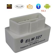 Mini varredor diagnóstico do carro de elm327 bluetooth obd2 para android elm 327 v2.1 obdii elm 327 obd 2 branco ferramenta de diagnóstico do código automático