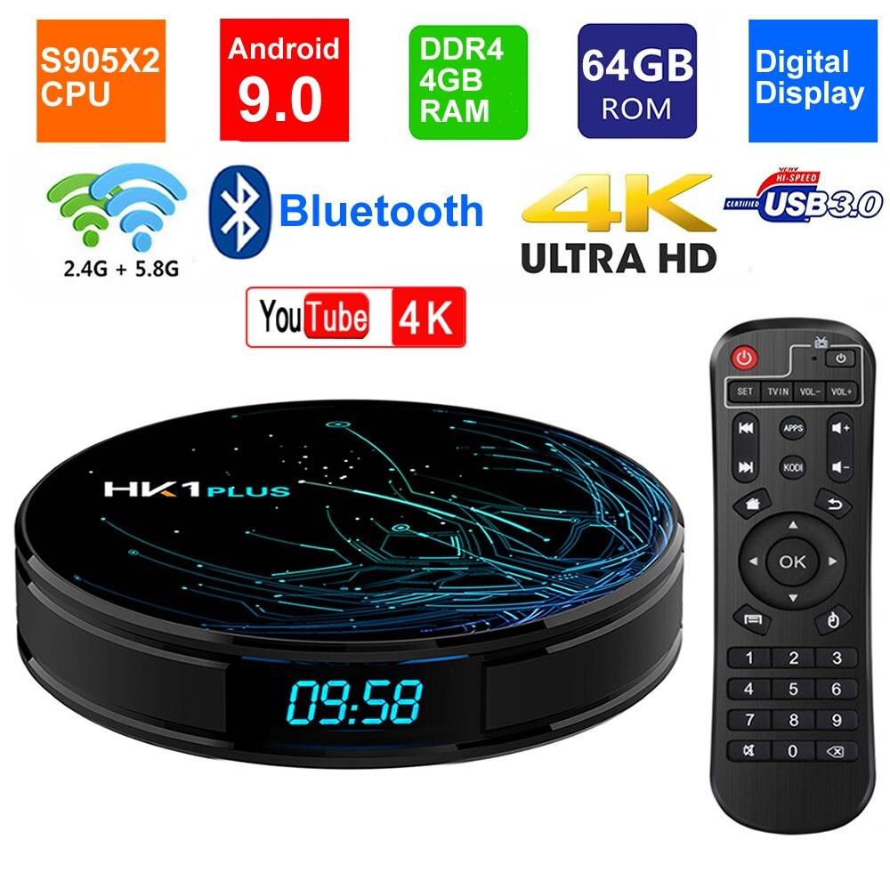 HK1 PLUS Smart TV BOX Android 9 0 S905X2 Quad core LPDDR4 4GB 64GB 2 4G