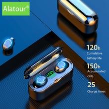 Alatour F9-8 Беспроводной наушники 1500 мАч Bluetooth Пауэр банк с 5,0 наушники спортивные светодиодный цифровой дисплей гарнитура Bluetooth зарядным устрой...
