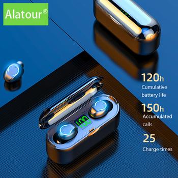 Alatour F9-8 słuchawki bezprzewodowe 1500mAh power bank Bluetooth 5 0 słuchawki Sport LED cyfrowy wyświetlacz słuchawki etui z funkcją ładowania tanie i dobre opinie douszne NONE Dynamiczny CN (pochodzenie) Prawdziwie bezprzewodowe Zwykłe słuchawki do telefonu komórkowego instrukcja obsługi