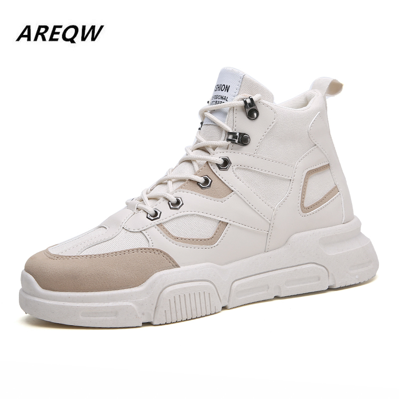 Martin Boots British Fashion High To Help Wild PU Men's Boots Comfortable Breathable Men's Casual Shoes 2019 Autumn And Winter