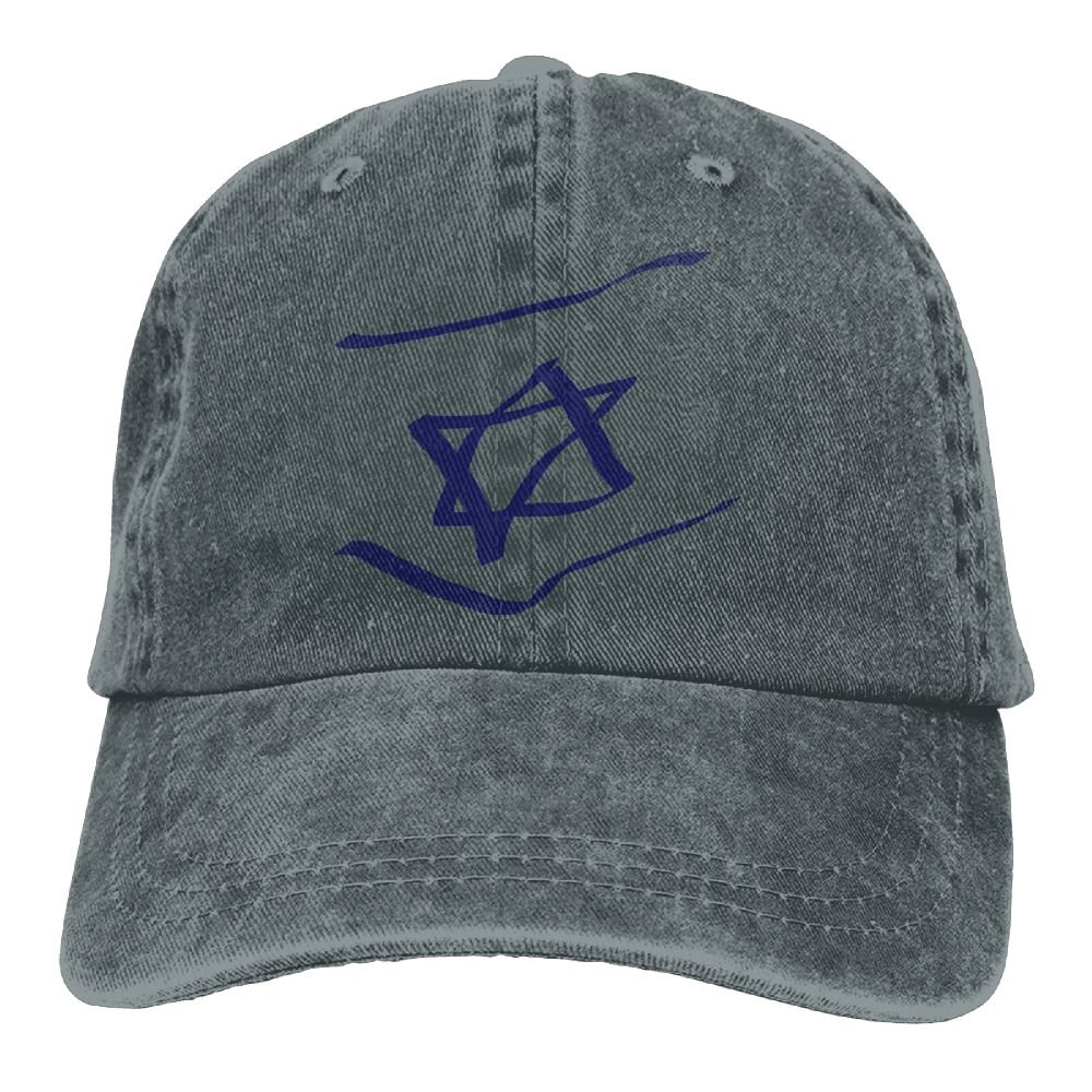 Abstract Israel Flag Denim Hat Adjustable Unisex Funny Baseball Cap